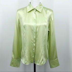 Talbots Vintage Silk Blouse Lime Green Career 14